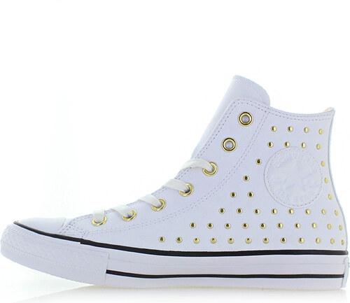 Converse Dámské bílé vysoké kožené tenisky Chuck Taylor All Star Leather  Stud 7706d6ee87
