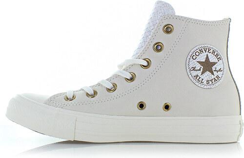 213b967aed Converse Dámské smetanové vysoké kožené tenisky Chuck Taylor All Star  Leather and Gator