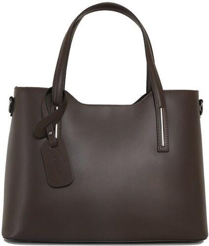 Talianske kožené kabelky na rameno čokoládové Carina veľké 5b4fc0fe142