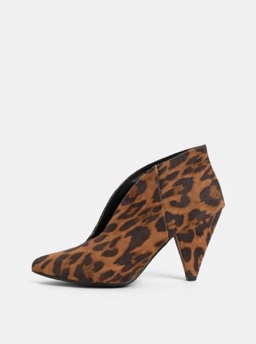 94b17fb7a2 -51% Hnedé členkové topánky na podpätku s leopardím vzorom v semišovej  úprave Dorothy Perkins Leo