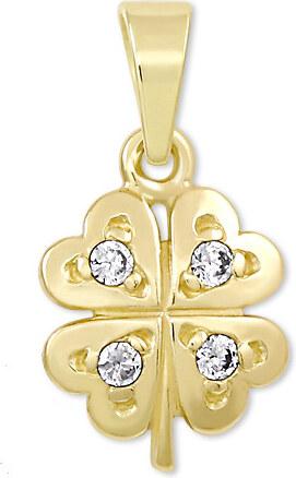 a504a9f68 Brilio Zlatý prívesok štvorlístok s kryštálmi 249 001 00371 - 0,70 g ...