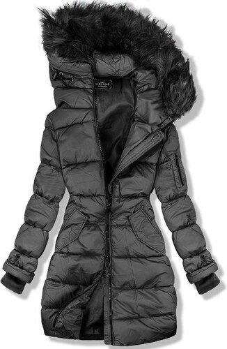 82274094a8 Butikmoda Grafitszürke színű hosszított téli kabát - Glami.hu
