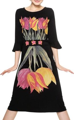 Desigual černé šaty Carcy s barevnými motivy - XS - Glami.cz 3d59bff147