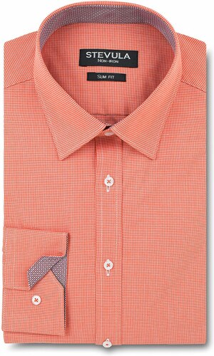 fec6db8dbae2 STEVULA Oranžová slim fit košeľa s kontrastom a golierom Kent - Glami.sk