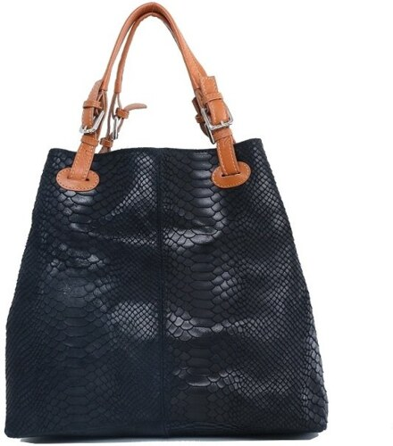 48673397669b TALIANSKE Talianska veľká kožená kabelka čierna Vanda k denimu