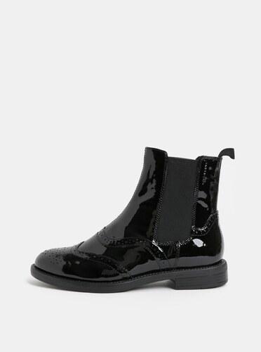 -20% Čierne dámske kožené chelsea topánky s brogue zdobením Vagabond Amina 3c93fbf71f5