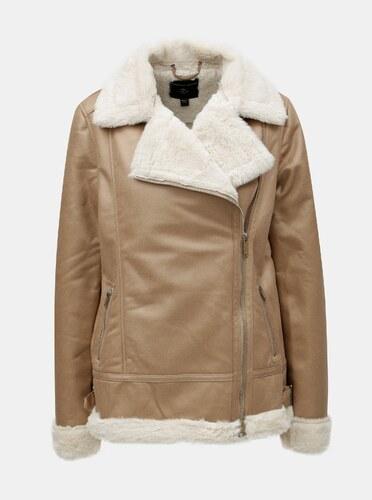 Béžová koženková bunda s umelou kožušinkou Dorothy Perkins - Glami.sk 524f6e63ade