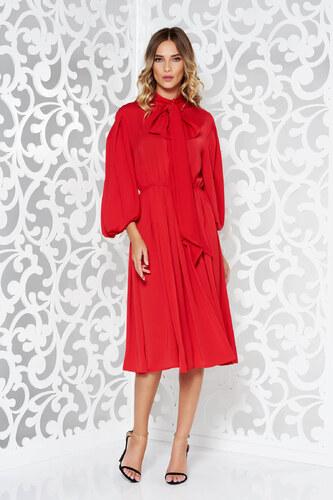 Piros StarShinerS hosszú ujjú alkalmi ruha fátyol anyagból - Glami.hu c30886d2b2