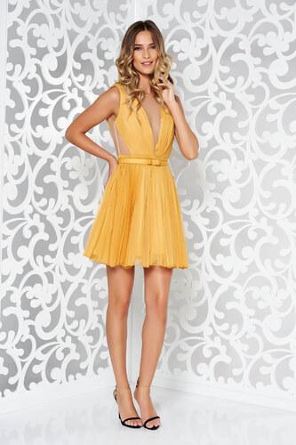 Mustársárga StarShinerS harang alakú alkalmi ruha övvel ellátva ... 6ad0009c02