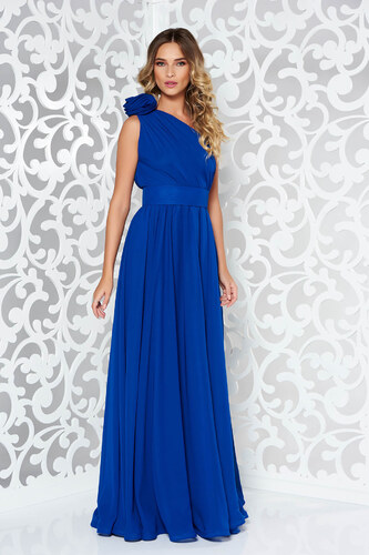 Kék StarShinerS egy vállas alkalmi ruha fátyol anyagból - Glami.hu 43cda765f4