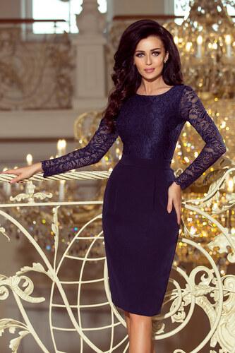 4ae4d467ea20 NUMOCO Elegantné tmavo modré šaty s dlhým rukávom 216-1 - Glami.sk