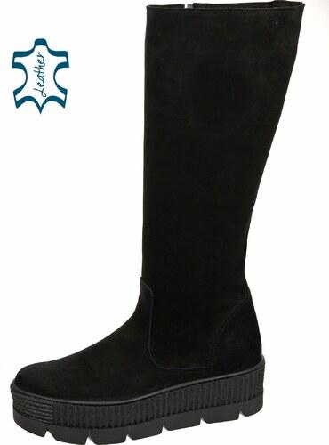 918eccbab4 OLIVIA SHOES Čierne čižmy z brúsenej kože na vysokej pohodlnej podošve  DCI3011
