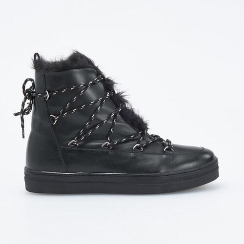 c65f90e713 Reserved - Zateplené kožené topánky - Čierna - Glami.sk