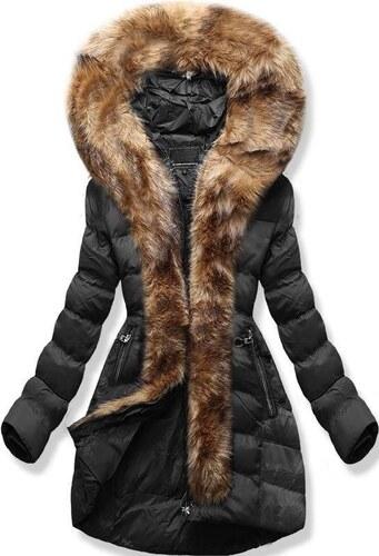 Butikmoda Fekete színű téli kabát műszőrme szegéllyel - Glami.hu 4dc327ae7e