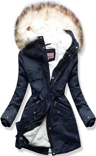 da11eb6350 Dámska zimná bunda s kapucňou W166 tmavo modrá - Glami.sk