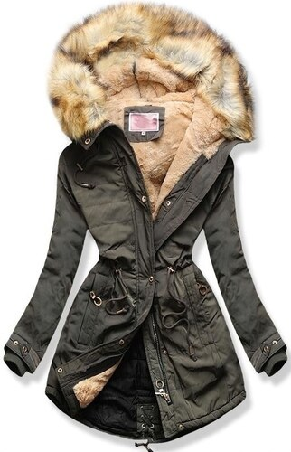 MODOVO Dámska zimná bunda s kapucňou W165 khaki - Glami.sk 7487589ce52