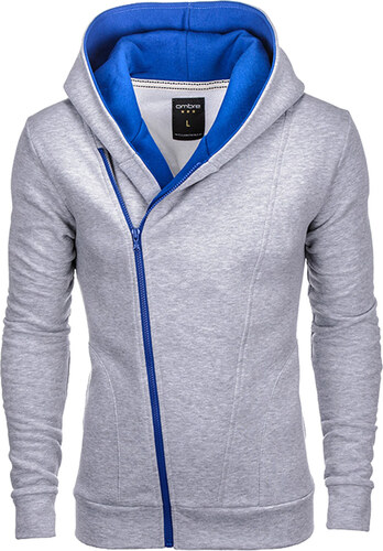 Ombre Clothing Pánska šedo-modrá mikina Primo s assassin creed kapucňou 4a2b350e3b9