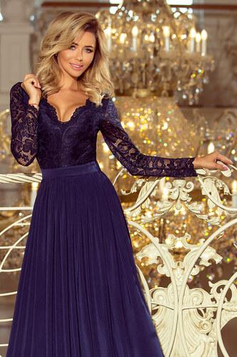 9750c0988c5 Numoco Společenské dlouhé šaty s krajkovým výstřihem a dlouhými rukávy -  tmavě modré