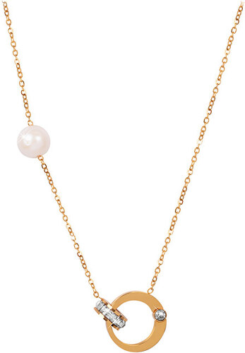 7edc15d8f JwL Luxury Pearls Pozlátený náhrdelník s pravou perlou a kryštály JL0422
