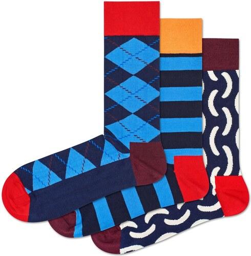 -100 Kč Nové Happy Socks 3 Pack Pattern Ponožky 17316f3694