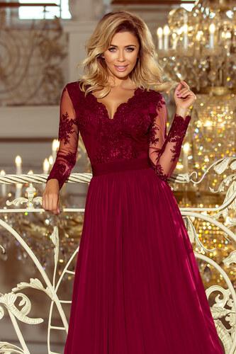 a429dca558b Numoco Společenské dlouhé šaty s krajkovým výstřihem a dlouhými rukávy -  vínové