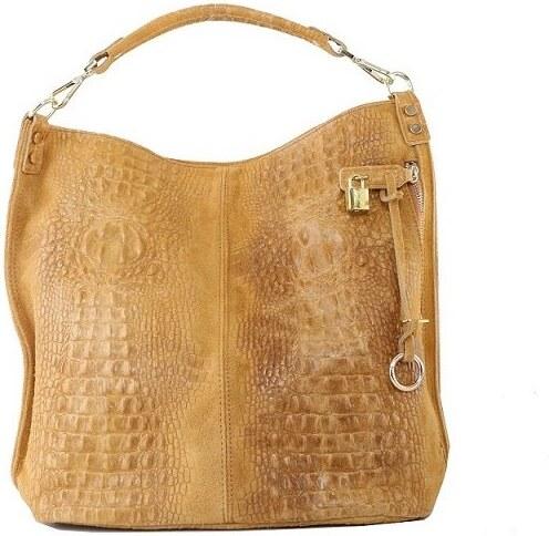 c09b1c13c4 -10% TALIANSKE XL Talianska shopperka kožená kabelka veľká na plece medová  Valika