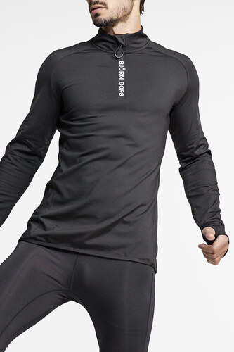 ce90cc351851 Björn Borg Pánské černé tričko Alve Half Zip Polo - Glami.cz