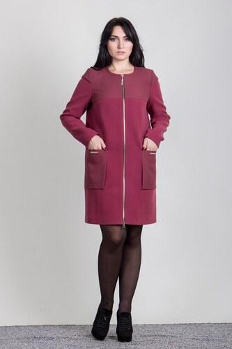 Jednoduchý ženský kabát Sergio Cotti model 2-436 9 bordový   garnet vine d3b14eced4d