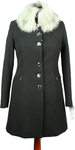 Elegantný dámský kabát SAS 216 - farba čierna (biela kožušina ... a69454b44fa