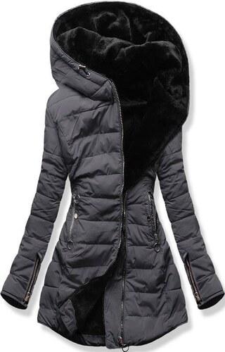 cc50a8421f Butikmoda Grafitszürke színű steppelt kabát plüss béléssel - Glami.hu