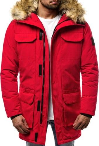 trendi piros téli parka kabát OZONEE JS 201807 - Glami.hu 24e04df562