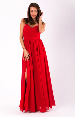 Dlouhé šaty s rozparkem Eva Red - Glami.cz d782940a1e