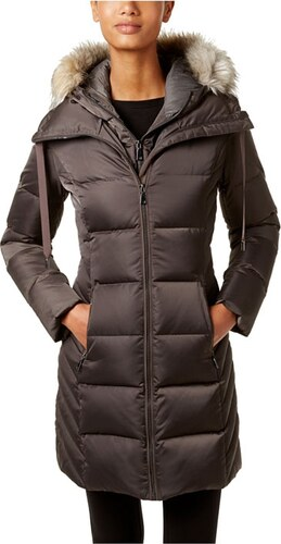 eeb6e31124e -21% Luxusní dámská zimní dlouhá bunda s kapucí a kožešinou T Tahari legend  grey