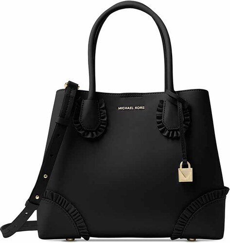 Kožená kabelka Michael Kors Mercer gallery medium ruffled tote black gold 9cd400841b7