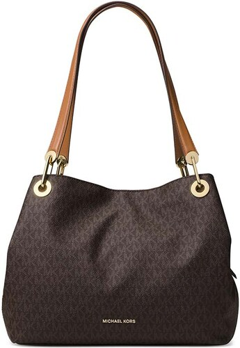 6b3a081f9d Michael Kors kabelka Raven large signature shoulder brown - Glami.cz