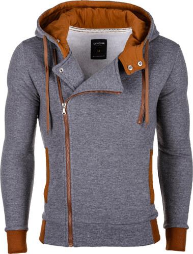 Ombre Clothing Pánska mikina krivák Chandler s kapucňou šedo-hnedá ... 69cfec6486a