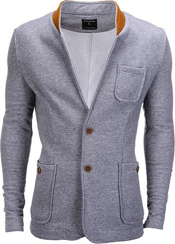 e43e7ddda68e Ombre Clothing Pánské neformální sako se záplatami na loktech Jacques šedé