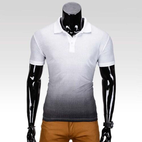 bf05c6c2537b Ombre Clothing Pánske tričko s límčekom a krátkym rukávom Roscoe bielo- čierne