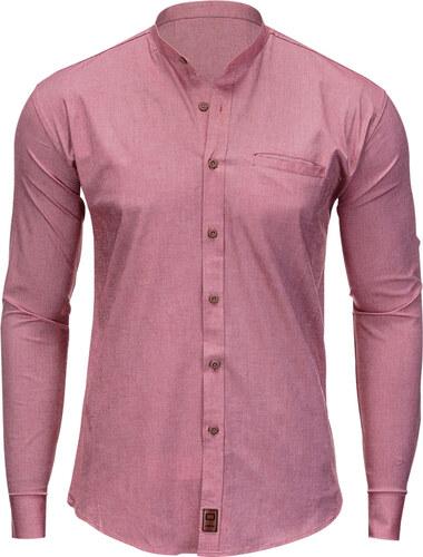 e3953a504536 Ombre Clothing Pánska košeľa s dlhým rukávom Hunter červená - Glami.sk