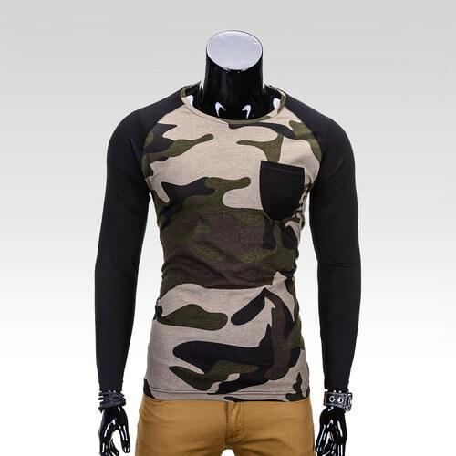 e05cc09a0da3 Ombre Clothing Pánské maskáčové tričko s dlouhým rukávem Seal zelené ...