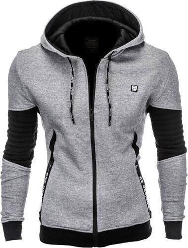 Ombre Clothing Pánska mikina na zips s kapucňou Wrike šedá - Glami.sk 83718e67cf4
