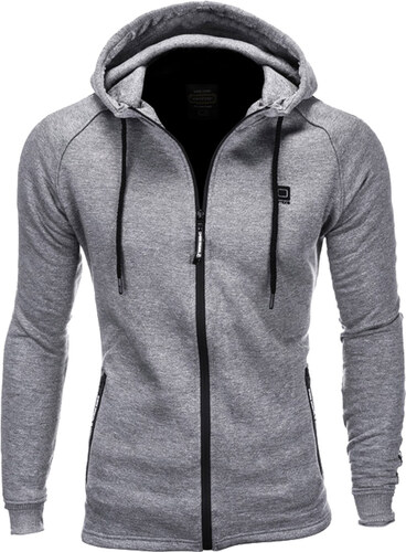 Ombre Clothing Férfi cipzáras pulóver kapucnival Richie szürke ... 438bdba966