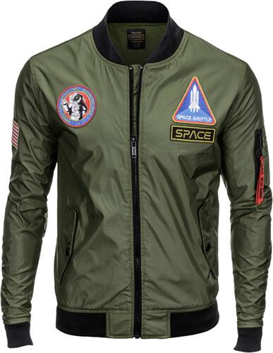 5a01dd6545 Ombre Clothing Férfi bomber dzseki rátétekkel Space khaki - Glami.hu