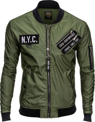 Ombre Clothing Férfi bomber dzseki rátétekkel Yankee khaki - Glami.hu eda94b8624