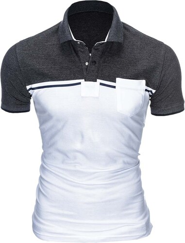 e0ece9cc0d48 Ombre Clothing Pánske polo tričko s golierom Royce tmavošedo-biele ...