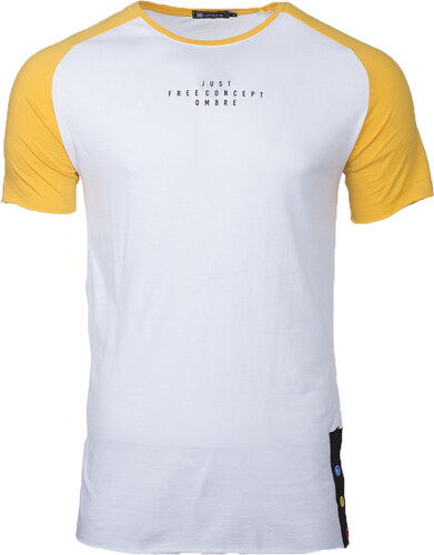 5ebbcd6332c8 Ombre Clothing Pánske tričko s krátkym rukávom Lancer bielo-žlté ...