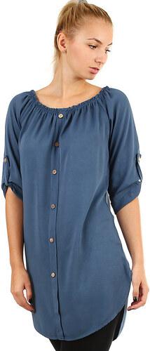 Glara Dámske voľné košeľové šaty s 3 4 rukávom - Glami.sk 1c76dd3806b