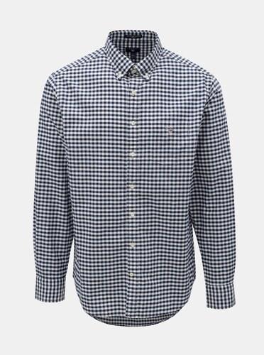 2dce9ee55278 -30% Bielo–modrá pánska kockovaná regular fit košeľa s výšivkou GANT
