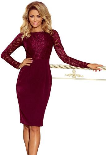 numoco Dámské společenské šaty krajkové s dlouhým rukávem bordó ... 50386b8a97