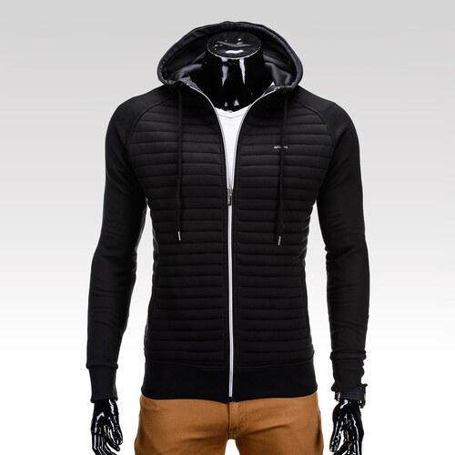 Ombre Clothing Pánská černá trendy mikina na zip s kapsami Lord ... 684d21c339